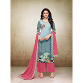 Craftsvilla Sky Blue Mashlin Silk Digital Printed Semi-stitched Salwar Suit