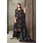 Craftsvilla Black Satin Cotton Printed Unstitched Salwar Suit