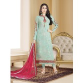 Craftsvilla Turquoise Color Georgette Embroidered Unstitched Straight Suit
