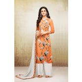 Craftsvilla Orange Mashlin Silk Digital Printed Semi-stitched Salwar Suit