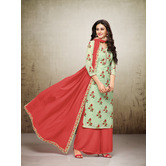 Craftsvilla Sea Green Mashlin Silk Digital Printed Semi-stitched Salwar Suit