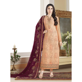 Craftsvilla Orange Color Georgette Embroidered Unstitched Straight Suit