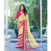 Craftsvilla Beige, Pink Color Printed Georgette Designer Saree