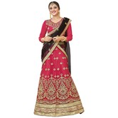 Craftsvilla Pink Color Net Embroidered Wedding Lehenga