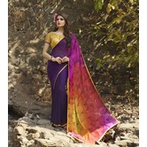 Craftsvilla Multicolor Hand Printed Georgette Designer Saree