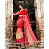 Craftsvilla Red Bemberg Georgette Embroidered Saree