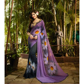 Craftsvilla Purple Color Hand Printed Georgette Designer Saree