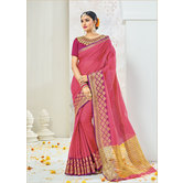 Craftsvilla Pink Color Cotton Embellished Partywear Saree