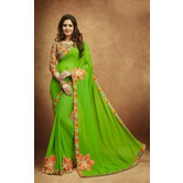 Craftsvilla Green Georgette Emblished Saree