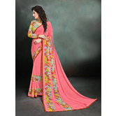 Craftsvilla Pink Color Printed Georgette Designer Saree