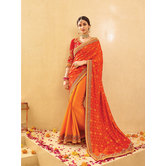Craftsvilla Orange Color Silk And Jacquard Embellished Designer Saree