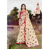 Craftsvilla Cream Rajjo Net Printed Saree