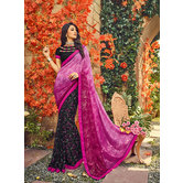 Craftsvilla Multicolor Georgette And Satin Embellished Half And Half Saree