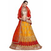 Craftsvilla Yellow Color Net Embroidered Wedding Lehenga