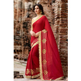 Craftsvilla Maroon Bemberg Georgette Embroidered Saree