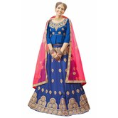 Craftsvilla Blue Color Bangalore Silk Embroidered Wedding Lehenga
