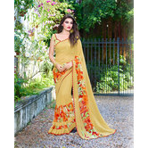 Craftsvilla Yellow Color Printed Georgette Designer Saree