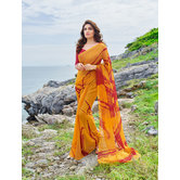 Craftsvilla Mustard Yellow Color Georgette Printed Saree