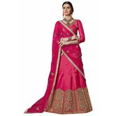 Craftsvilla Pink Color Bangalore Silk Embroidered Wedding Lehenga