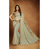 Craftsvilla Grey Georgette Emblished Saree