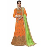 Craftsvilla Orange Color Bangalore Silk Embroidered Wedding Lehenga