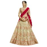 Craftsvilla Beige Color Net Embroidered Wedding Lehenga