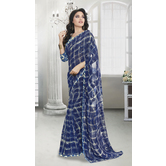 Craftsvilla Blue Color Georgette Lace Work Designer Saree