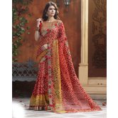 Craftsvilla Red & Yellow Color Cotton Printed Saree