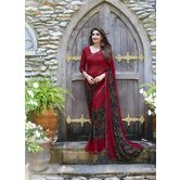 Craftsvilla Red Color Georgette Printed Saree