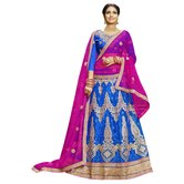 Craftsvilla Blue Color Net Embroidered Wedding Lehenga