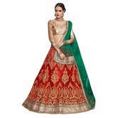 Craftsvilla Red Color Net Embroidered Wedding Lehenga