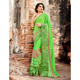 Craftsvilla Green Bemberg Georgette Embroidered Saree