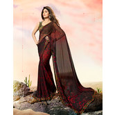 Craftsvilla Black And Red Color Georgette Printed Designer Saree