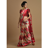 Craftsvilla Red Color Satin Printed Traditional Saree With Unstitched Blouse Material