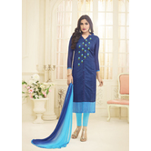 Craftsvilla Navy Color Chanderi Embroidered Traditional Unstitched Straight Churidar Suit