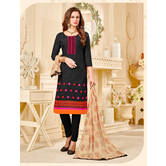 Craftsvilla Black Embroidered Cotton Jacquard Unstitched Dress Material With Matching Dupatta