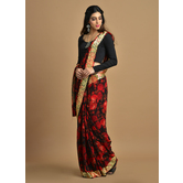 Craftsvilla Black And Red Color Georgette Printed Partywear Saree With Unstitched Blouse Material