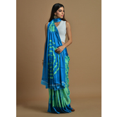 Craftsvilla Green And Sky Blue Color Satin Printed Traditional Saree With Unstitched Blouse Material