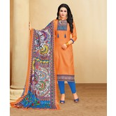 Craftsvilla Orange Color Cotton Blend Printed Unstitched Traditional Straight Suit