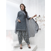 Craftsvilla Grey Color Cotton Blend Printed Unstitched Straight Suit
