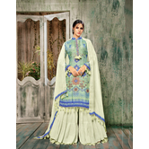 Craftsvilla Sky Blue Color Cotton Silk Printed Semi-stitched Straight Palazzo Suit