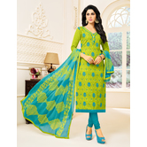 Craftsvilla Green Color Cotton Blend Embellished Traditional Unstitched Straight Suit