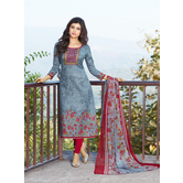 Craftsvilla Grey  Cotton Blend Printed Floral Round Chudidar Casual Dress Material With Matching Dupatta
