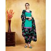 Craftsvilla Sea Green Printed Pure Cotton Casual Patiyala Flower Print Dress Material With Matching Dupatta