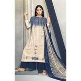 Craftsvilla Beige Color Cotton Blend Abstract Printed Unstitched Salwar Suit