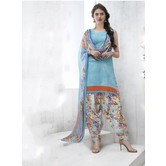 Craftsvilla Sky Blue Color Cotton Blend Printed Unstitched Straight Suit