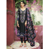 Craftsvilla Black Color Cotton Blend Printed Unstitched Straight Suit