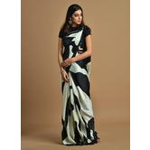 Craftsvilla Black And White Color Satin Printed Traditional Saree With Unstitched Blouse Material