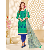 Craftsvilla Green Embroidered Cotton Jacquard Unstitched Dress Material With Matching Dupatta