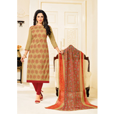 Craftsvilla Beige Color Cotton Blend Embellished Traditional Unstitched Straight Suit